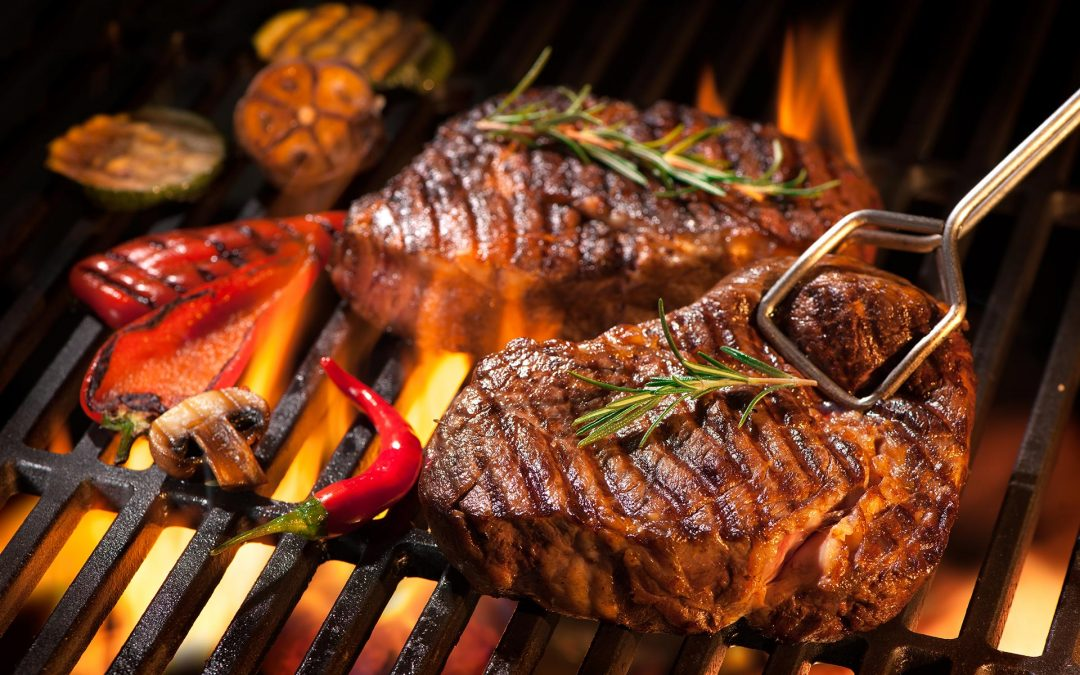 Grilled T-Bone Steak with Peppers