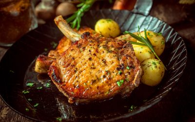 Pork Cutlets with Herbs and Baby Potatoes